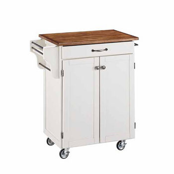 """Mix & Match 2 Door w/ Drawer Cuisine Cart Cabinet, White Finish with Oak Top, 32-1/2"""" W x 18-3/4"""" D x 35-1/2"""" H"""