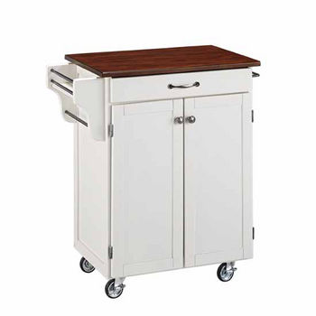"""Mix & Match 2 Door w/ Drawer Cuisine Cart Cabinet, White Finish with Cherry Top, 32-1/2"""" W x 18-3/4"""" D x 35-1/2"""" H"""
