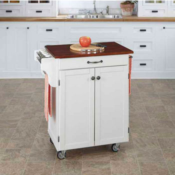 Mix & Match 2 Door w/ Drawer Cuisine Cart Cabinet, White Finish with Cherry Top by Home Styles