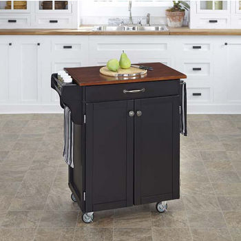 Mix & Match 2 Door w/ Drawer Cuisine Cart Cabinet, Black Finish with Cherry Top by Home Styles