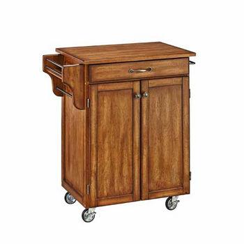 "Mix & Match 2 Door w/ Drawer Cuisine Cart Cabinet, Warm Oak Finish with Oak Top, 32-1/2"" W x 18-3/4"" D x 35-1/2"" H"