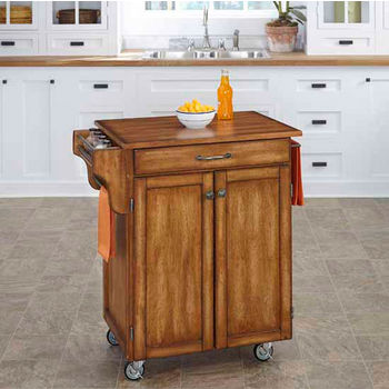 Mix & Match 2 Door w/ Drawer Cuisine Cart Cabinet, Warm Oak Finish with Oak Top by Home Styles
