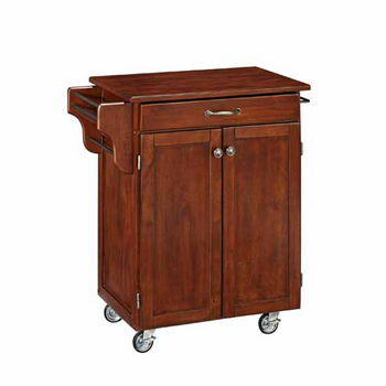 """Mix & Match 2 Door w/ Drawer Cuisine Cart Cabinet, Cherry Finish with Cherry Top, 32-1/2"""" W x 18-3/4"""" D x 35-1/2"""" H"""
