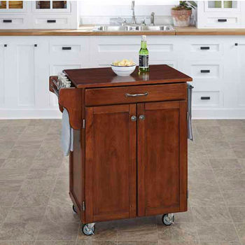 Mix & Match 2 Door w/ Drawer Cuisine Cart Cabinet, Cherry Finish with Cherry Top by Home Styles
