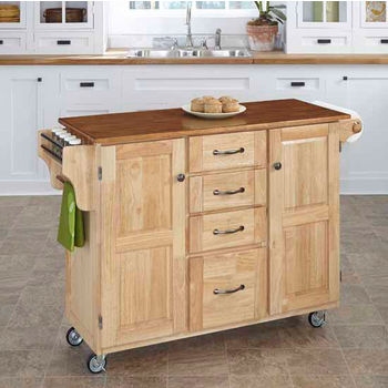 Mix & Match Create-a-Cart Natural Finish with Oak Top by Home Styles