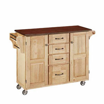 "Mix & Match Create-a-Cart Natural Finish with Cherry Top by Home Styles, 48""W x 17-3/4""D x 35-1/2""H"