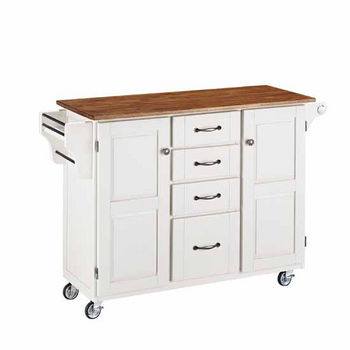 """Mix & Match Create-a-Cart White Finish with Oak Top by Home Styles, 48""""W x 17-3/4""""D x 35-1/2""""H"""