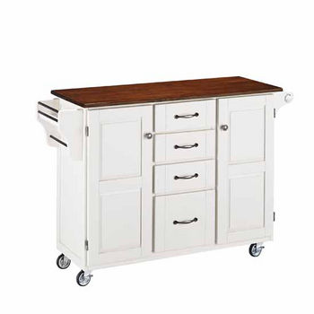 """Mix & Match Create-a-Cart White Finish with Cherry Top by Home Styles, 48""""W x 17-3/4""""D x 35-1/2""""H"""