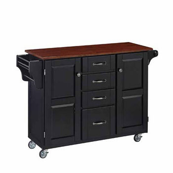 "Mix & Match Create-a-Cart Black Finish with Cherry Top by Home Styles, 48""W x 17-3/4""D x 35-1/2""H"