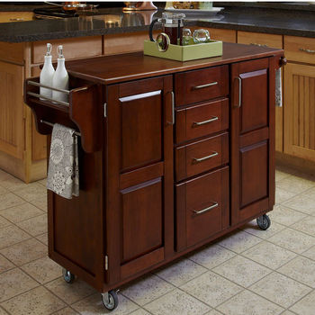 Mix & Match Create-a-Cart Cherry Finish with Oak Top by Home Styles