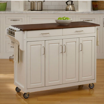 Mix & Match Create-a-Cart White Finish with Cherry Top by Home Styles