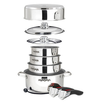 Nested 10 Piece Stainless Steel Gourmet Cookware