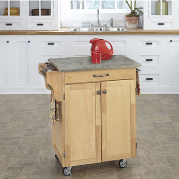 Mix and Match Natural Cuisine Cart with Gray Concrete Top, 32-1/2'' W x 18-3/4'' D x 35-1/2'' H