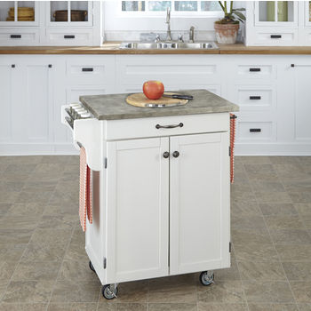 Mix and Match White Cuisine Cart with Gray Concrete Top, 32-1/2'' W x 18-3/4'' D x 35-1/2'' H