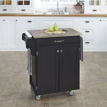 Mix and Match Black Cuisine Cart with Gray Concrete Top, 32-1/2'' W x 18-3/4'' D x 35-1/2'' H