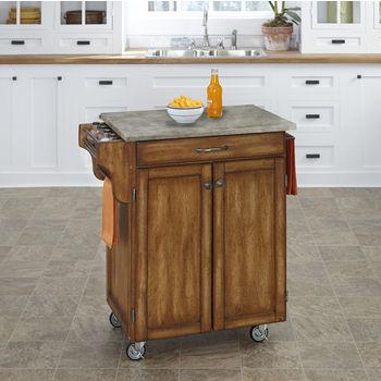 Mix and Match Oak Cuisine Cart with Gray Concrete Top, 32-1/2'' W x 18-3/4'' D x 35-1/2'' H