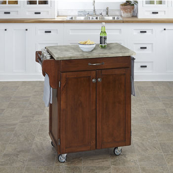 Mix and Match Cherry Cuisine Cart with Gray Concrete Top, 32-1/2'' W x 18-3/4'' D x 35-1/2'' H