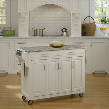 Mix and Match White Create-a-Cart with Gray Concrete Top, 48-3/4'' W x 17-3/4'' D x 35'' H