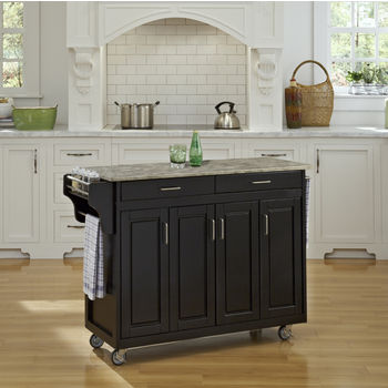 Mix and Match Black Create-a-Cart with Gray Concrete Top, 48-3/4'' W x 17-3/4'' D x 35'' H