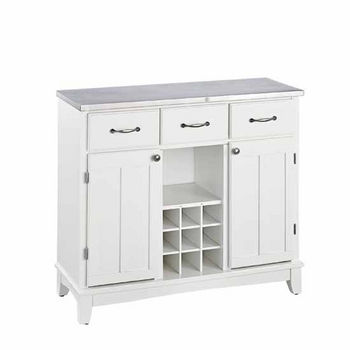 Mix & Match Large Buffet Server Off-White Base with Stainless Steel Top