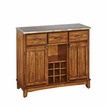 Mix and Match Large Buffet Server with Dark Cottage Oak Stained Base and Stainless Steel Top