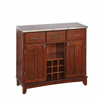 Mix & Match Large Buffet Server with Cherry Base and Stainles Steel Top