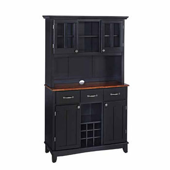 Mix and Match large Black buffet server with two-door hutch and cherry top