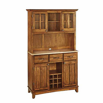 Mix and Match large Dark Cottage Oak Stain buffet server with two-door hutch and Natural wood top