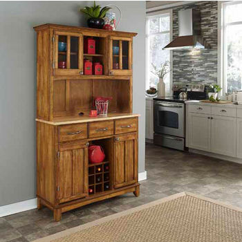 Cottage Oak Finish Wood Large Two-Door Hutch Buffet Server with Natural Wood Top