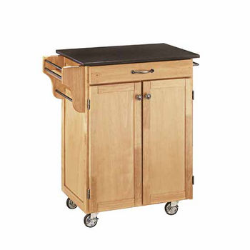 Mix & Match Cuisine Cart, Natural Base, Black Granite Top