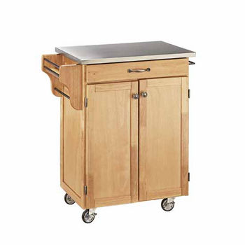 Mix & Match Cuisine Cart, Natural Base, Stainless Steel Top