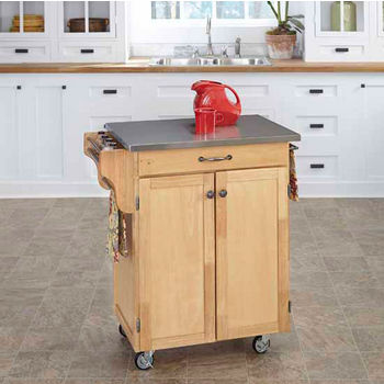 Home Styles Mix and Match Cuisine Cart with Natural Finish Base and Stainless Steel Top