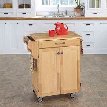 Home Styles Mix and Match Cuisine Cart with Natural Finish and Natural Wood Top