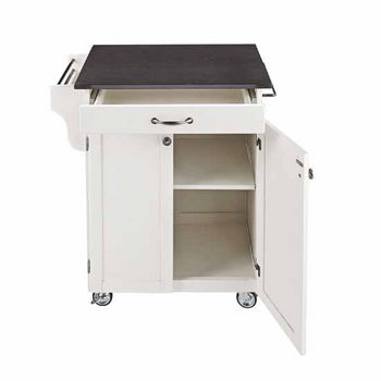 Mix & Match Cuisine Cart, White Base, Black Granite Top