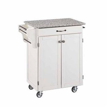 Mix & Match Cuisine Cart, White Base, Granite Top