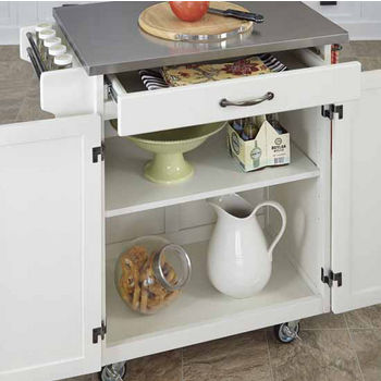 Mix & Match Cuisine Cart, White Base, Stainless Steel Top