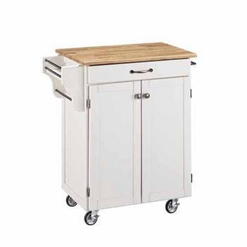Mix & Match Cuisine Cart, White Base, Wood Top