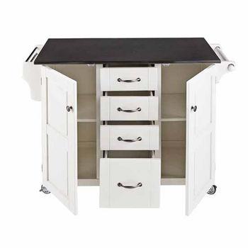 Mix & Match Kitchen Cart Cabinet, White Base, Black Granite Top