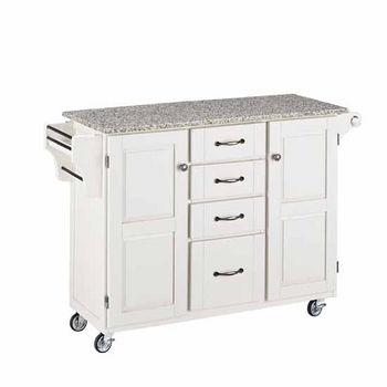 Kitchen Carts Mix And Match White Kitchen Cart Cabinet W Granite Top Kitchensource Com