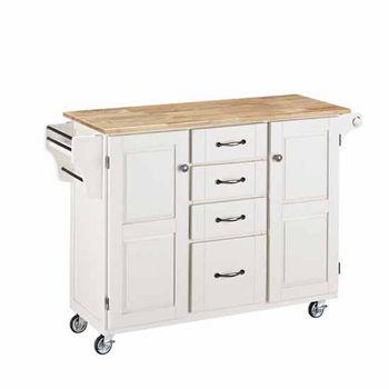 Mix & Match Kitchen Cart Cabinet, White Base, Wood Top