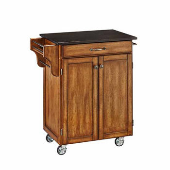 Mix & Match Cuisine Cart, Cottage Oak Base, Black Granite Top