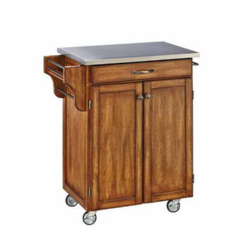Mix & Match Cuisine Cart, Dark Cottage Oak Stained Base, Stainless Steel Top