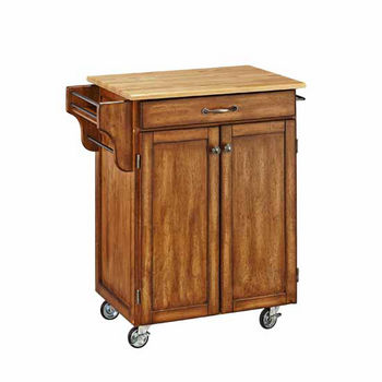Mix & Match Cuisine Cart, Dark Cottage Oak Stained Base, Wood Top