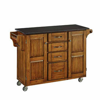 Mix & Match Kitchen Cart Cabinet, Dark Cottage Oak Stained Base, Black Granite Top