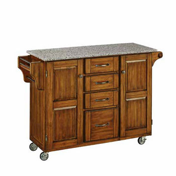 Mix & Match Kitchen Cart Cabinet, Dark Cottage Oak Stained Base, Granite Top