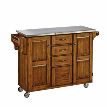 Mix & Match Kitchen Cart Cabinet, Dark Cottage Oak Stained Base, Stainless Steel Top