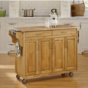 Mix and Match Create-a-Cart w/ Natural Finish and Wood Top by Home Styles