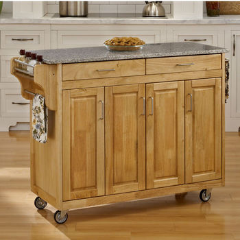 Mix and Match Create-a-Cart w/ Natural Finish and Salt & Pepper Granite Top by Home Styles