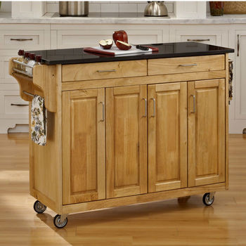 Mix and Match Create-a-Cart w/ Natural Finish and Black Granite Top by Home Styles