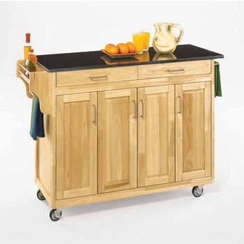Mix and Match Create-a-Cart Natural Finish Black Granite Top